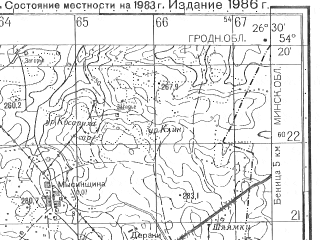 Reduced fragment of topographic map ru--gs--050k--n35-065-2--N054-20_E026-15--N054-10_E026-30; towns and cities Krevo, Lostoyantsy