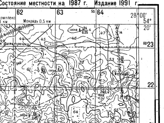 Reduced fragment of topographic map ru--gs--050k--n35-068-2--(1987)--N054-20_E027-45--N054-10_E028-00; towns and cities Logoysk