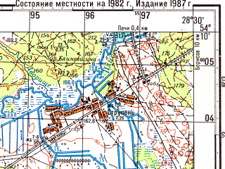Reduced fragment of topographic map ru--gs--050k--n35-069-4--(1982)--N054-10_E028-15--N054-00_E028-30; towns and cities Zhodino