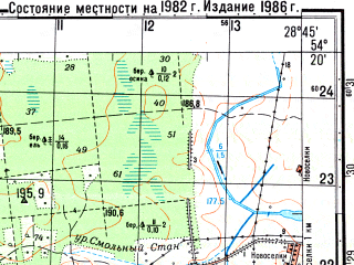 Reduced fragment of topographic map ru--gs--050k--n35-070-1--(1982)--N054-20_E028-30--N054-10_E028-45; towns and cities Loshnitsa