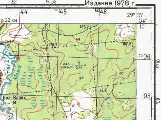 Reduced fragment of topographic map ru--gs--050k--n35-071-3--N054-10_E029-00--N054-00_E029-15