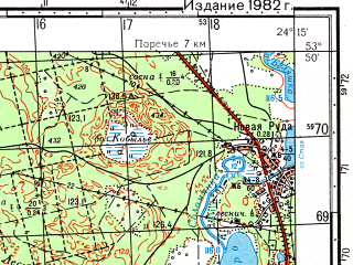 Reduced fragment of topographic map ru--gs--050k--n35-073-3--(1982)--N053-50_E024-00--N053-40_E024-15; towns and cities Ozery