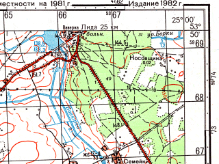 Reduced fragment of topographic map ru--gs--050k--n35-074-4--(1982)--N053-50_E024-45--N053-40_E025-00; towns and cities Vasilishki