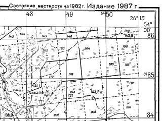 Reduced fragment of topographic map ru--gs--050k--n35-077-1--N054-00_E026-00--N053-50_E026-15; towns and cities Bakshty
