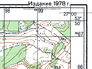Reduced fragment of topographic map ru--gs--050k--n35-078-4--N053-50_E026-45--N053-40_E027-00; towns and cities Rubezhevichi