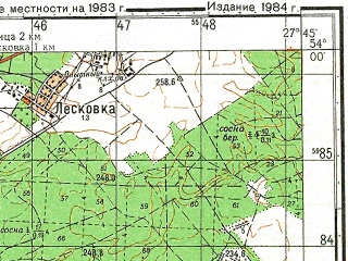 Reduced fragment of topographic map ru--gs--050k--n35-080-1--(1983)--N054-00_E027-30--N053-50_E027-45; towns and cities Minsk