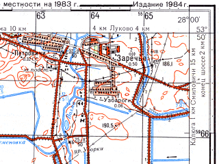 Reduced fragment of topographic map ru--gs--050k--n35-080-4--(1983)--N053-50_E027-45--N053-40_E028-00; towns and cities Dukora, Smilovichi