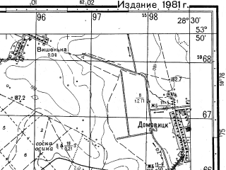 Reduced fragment of topographic map ru--gs--050k--n35-081-4--N053-50_E028-15--N053-40_E028-30; towns and cities Cherven'