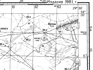 Reduced fragment of topographic map ru--gs--050k--n35-083-2--N054-00_E029-15--N053-50_E029-30; towns and cities Klevka