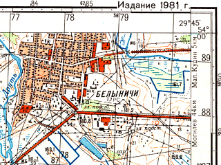 Reduced fragment of topographic map ru--gs--050k--n35-084-1--(1981)--N054-00_E029-30--N053-50_E029-45; towns and cities Belynichi