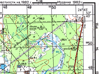 Reduced fragment of topographic map ru--gs--050k--n35-086-1--(1983)--N053-40_E024-30--N053-30_E024-45; towns and cities Shchuchin