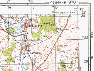 Reduced fragment of topographic map ru--gs--050k--n35-088-3--N053-30_E025-30--N053-20_E025-45; towns and cities Novoyel'nya