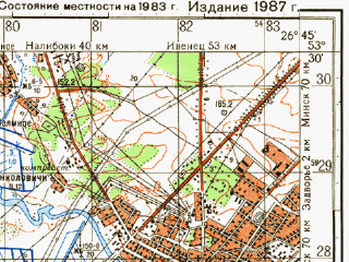 Reduced fragment of topographic map ru--gs--050k--n35-090-3--N053-30_E026-30--N053-20_E026-45; towns and cities Stolbtsy