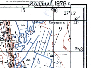 Reduced fragment of topographic map ru--gs--050k--n35-091-1--(1978)--N053-40_E027-00--N053-30_E027-15; towns and cities Negoreloye