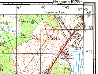 Reduced fragment of topographic map ru--gs--050k--n35-092-3--(1978)--N053-30_E027-30--N053-20_E027-45