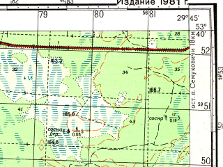 Reduced fragment of topographic map ru--gs--050k--n35-096-1--(1981)--N053-40_E029-30--N053-30_E029-45; towns and cities Chechevichi