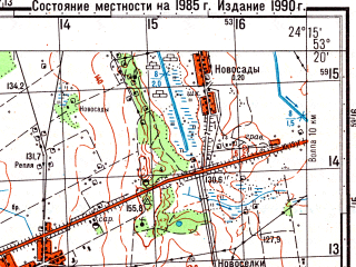 Reduced fragment of topographic map ru--gs--050k--n35-097-1--(1985)--N053-20_E024-00--N053-10_E024-15; towns and cities Bol'shaya Berestovitsa