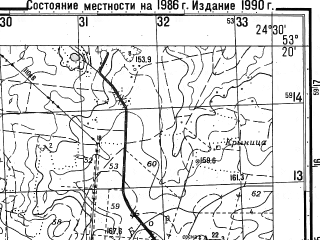 Reduced fragment of topographic map ru--gs--050k--n35-097-2--N053-20_E024-15--N053-10_E024-30; towns and cities Volkovysk, Ross'
