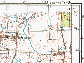 Reduced fragment of topographic map ru--gs--050k--n35-097-3--N053-10_E024-00--N053-00_E024-15; towns and cities Svisloch'