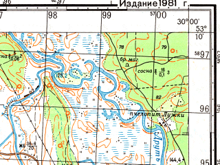 Reduced fragment of topographic map ru--gs--050k--n35-108-4--(1981)--N053-10_E029-45--N053-00_E030-00