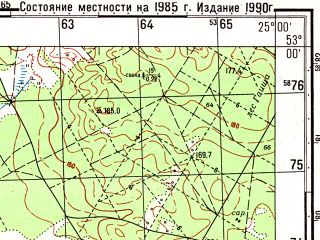 Reduced fragment of topographic map ru--gs--050k--n35-110-2--(1985)--N053-00_E024-45--N052-50_E025-00; towns and cities Ruzhany