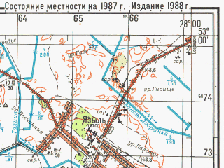 Reduced fragment of topographic map ru--gs--050k--n35-116-2--N053-00_E027-45--N052-50_E028-00; towns and cities Urech'ye