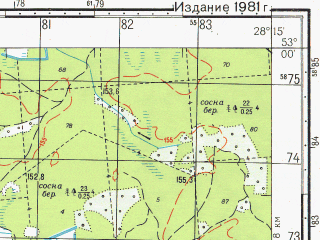 Reduced fragment of topographic map ru--gs--050k--n35-117-1--N053-00_E028-00--N052-50_E028-15