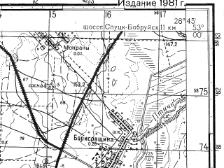 Reduced fragment of topographic map ru--gs--050k--n35-118-1--N053-00_E028-30--N052-50_E028-45; towns and cities Glussk