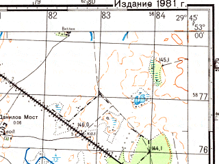 Reduced fragment of topographic map ru--gs--050k--n35-120-1--(1981)--N053-00_E029-30--N052-50_E029-45; towns and cities Shchedrin
