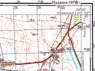 Reduced fragment of topographic map ru--gs--050k--n35-121-2--(1978)--N052-40_E024-15--N052-30_E024-30; towns and cities Pruzhany