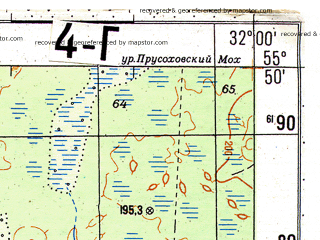 Reduced fragment of topographic map ru--gs--050k--n36-004-4--N055-50_E031-45--N055-40_E032-00; towns and cities Korolevshchina