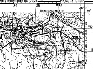 Reduced fragment of topographic map ru--gs--050k--n36-012-2--N056-00_E035-45--N055-50_E036-00; towns and cities Ostashevo, Privokzal'nyy
