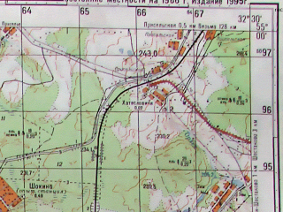 Reduced fragment of topographic map ru--gs--050k--n36-041-2--(1995)--N055-00_E032-15--N054-50_E032-30; towns and cities Kardymovo