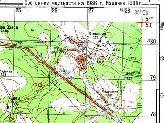 Reduced fragment of topographic map ru--gs--050k--n36-046-4--N054-50_E034-45--N054-40_E035-00; towns and cities Klimov Zavod
