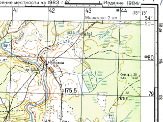 Reduced fragment of topographic map ru--gs--050k--n36-047-3--N054-50_E035-00--N054-40_E035-15; towns and cities Yukhnov