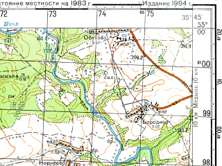 Reduced fragment of topographic map ru--gs--050k--n36-048-1--N055-00_E035-30--N054-50_E035-45; towns and cities Myatlevo