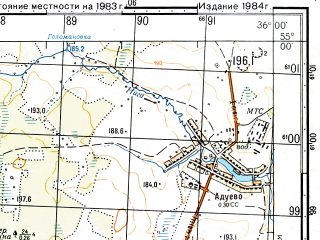 Reduced fragment of topographic map ru--gs--050k--n36-048-2--N055-00_E035-45--N054-50_E036-00; towns and cities Medyn'