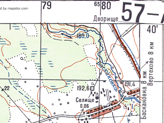Reduced fragment of topographic map ru--gs--050k--n36-057-1--N054-40_E034-00--N054-30_E034-15; towns and cities Vskhody