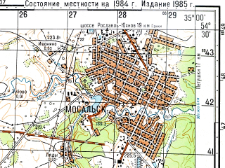Reduced fragment of topographic map ru--gs--050k--n36-058-4--N054-30_E034-45--N054-20_E035-00; towns and cities Mosal'sk