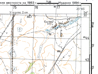 Reduced fragment of topographic map ru--gs--050k--n36-060-3--N054-30_E035-30--N054-20_E035-45; towns and cities Babynino