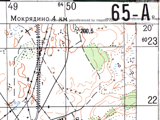 Reduced fragment of topographic map ru--gs--050k--n36-065-1--N054-20_E032-00--N054-10_E032-15; towns and cities Khislavichi