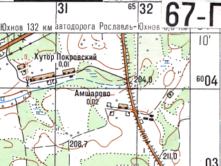 Reduced fragment of topographic map ru--gs--050k--n36-067-4--N054-10_E033-15--N054-00_E033-30; towns and cities Yekimovichi