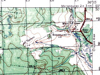 Reduced fragment of topographic map ru--gs--050k--n37-001-3--N055-50_E036-00--N055-40_E036-15; towns and cities Ruza