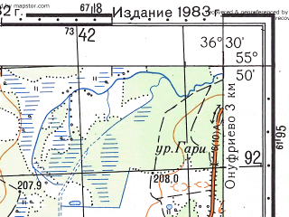 Reduced fragment of topographic map ru--gs--050k--n37-001-4--N055-50_E036-15--N055-40_E036-30; towns and cities Novogorbovo, Volkovo