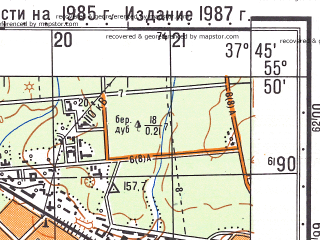 Reduced fragment of topographic map ru--gs--050k--n37-004-3--(1986)--N055-50_E037-30--N055-40_E037-45; towns and cities Moscow