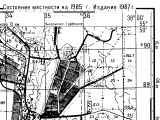 Reduced fragment of topographic map ru--gs--050k--n37-004-4--N055-50_E037-45--N055-40_E038-00; towns and cities Balashikha, Lyubertsy, Reutov, Kosino, Saltykovka