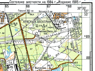 Reduced fragment of topographic map ru--gs--050k--n37-005-4--N055-50_E038-15--N055-40_E038-30; towns and cities Elektrostal', Fryazevo, Imeni Vorovskogo
