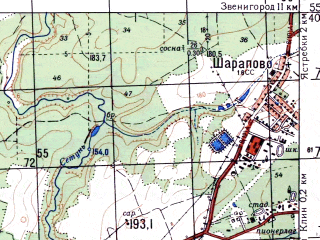 Reduced fragment of topographic map ru--gs--050k--n37-014-1--N055-40_E036-30--N055-30_E036-45; towns and cities Kolyubakino, Kubinka