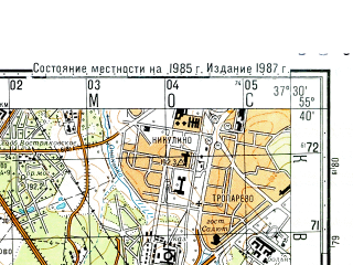 Reduced fragment of topographic map ru--gs--050k--n37-015-2--(1985)--N055-40_E037-15--N055-30_E037-30; towns and cities Solntsevo, Vnukovo, Choboty, Meshcherskiy, Orlovo