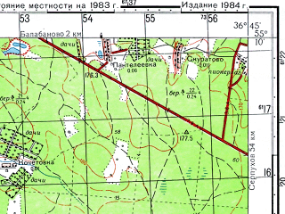 Reduced fragment of topographic map ru--gs--050k--n37-026-3--N055-10_E036-30--N055-00_E036-45; towns and cities Obninsk, Balabanovo, Belousovo, Mitinka
